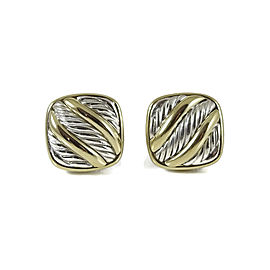 David Yurman Albion 925 Sterling Silver & 18K Yellow Gold Carved Cable Earrings