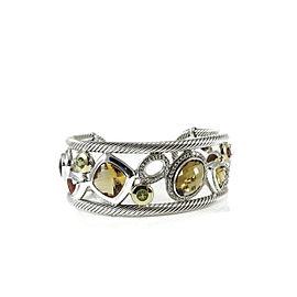 David Yurman 18k Yellow Gold, Sterling Silver Citrine, Peridot, Diamond Mosaic Cuff Bangle Bracelet