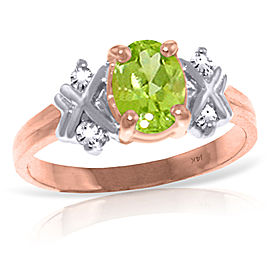 0.97 CTW 14K Solid Rose Gold Xo Peridot Diamond Ring