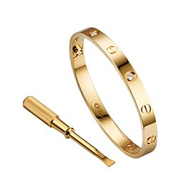 Cartier Love 18K Yellow Gold 0.42ct Diamonds Bracelet Size 17