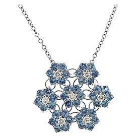 Blue Topaz Diamond Gold Pendant Necklace