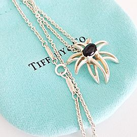 Tiffany & Co. Sterling Silver Black Onyx Vintage Fireworks Pendant Necklace