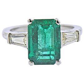 3.50 Carat Emerald Diamond Platinum Ring