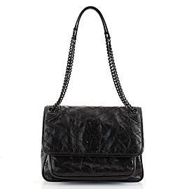 Saint Laurent Niki Chain Flap Bag Matelasse Chevron Leather Medium