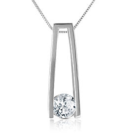 0.25 CTW 14K Solid White Gold Necklace Natural 0.25 CTW Diamond