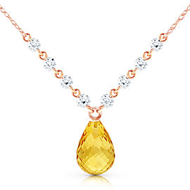 11.3 CTW 14K Solid Rose Gold Dispense Confidence Citrine Diamond Necklace