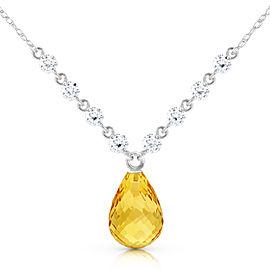 11.3 CTW 14K Solid White Gold Dispense Confidence Citrine Diamond Necklace