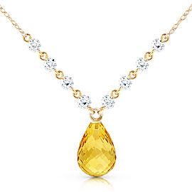11.3 CTW 14K Solid Gold Mermaids Singing Citrine Diamond Necklace