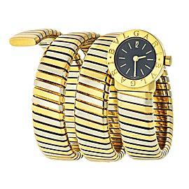 Bulgari Tubogas Two-Tone Gold Wrap Bracelet Watch BB 19 1T
