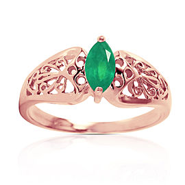 0.2 CTW 14K Solid Rose Gold Filigree Ring Natural Emerald