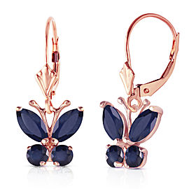 1.24 CTW 14K Solid Rose Gold Butterfly Earrings Sapphire