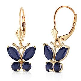 1.24 CTW 14K Solid Gold Butterfly Earrings Sapphire