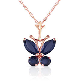 0.6 CTW 14K Solid Rose Gold Butterfly Necklace Natural Sapphire