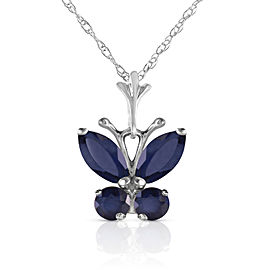 0.6 CTW 14K Solid White Gold Butterfly Necklace Natural Sapphire