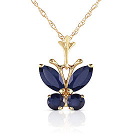 0.6 CTW 14K Solid Gold Butterfly Necklace Natural Sapphire
