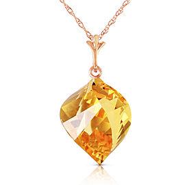 11.75 CTW 14K Solid Rose Gold Necklace Twisted Briolette Citrine