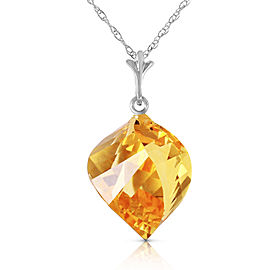 11.75 CTW 14K Solid White Gold Necklace Twisted Briolette Citrine