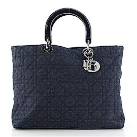 Christian Dior Vintage Lady Dior Bag Cannage Quilt Denim Large