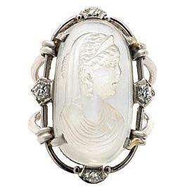 Victorian Moostone Cameo Diamond Platinum Ring