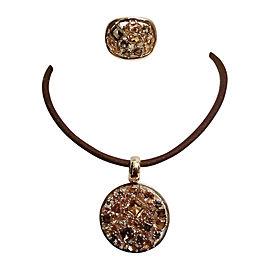 14K Yellow Gold Citrine & Smoky Quartz Ring & Pendant/Necklace Set