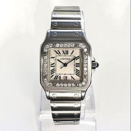 CARTIER SANTOS GALBEE 29mm Quartz Steel ~1TCW Diamond Watch