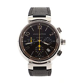 Louis Vuitton Tambour Chronograph Automatic Watch Stainless Steel and Damier Rubber 41