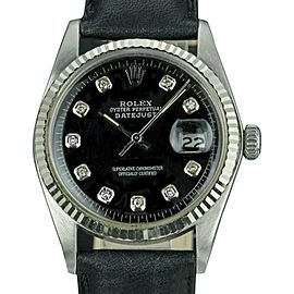 Rolex Datejust 16014 Stainless Steel / Leather with Black Dial Custom Diamonds Automatic 36mm Mens Watch