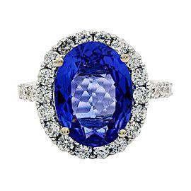 18K White Gold Tanzanite Diamond Ring Size 7.5