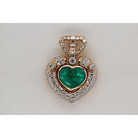 GRS Certified 8.18 Carat Colombian Emerald And Diamond Pendant In 18 Karat Gold