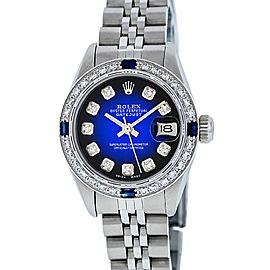 Rolex Ladies Datejust 6917 Stainless Steel & 18K White Gold Blue Vignette Diamond and Sapphire 26mm Womens Watch
