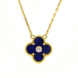 Van Cleef & Arpels Alhambra 18K Yellow & White Gold Lapis Lazuli & Diamond Pendant Necklace