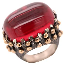 Vintage Silver Brutalist BORA Dome Red Stone Ring