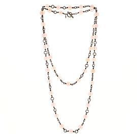 David Yurman Bijou Beaded Necklace Sterling Silver and Rose Quartz