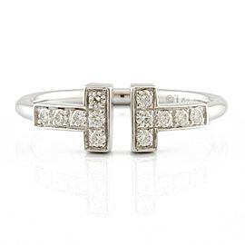 TIFFANY & Co. 18K white gold Diamond T Ring CHAT-909