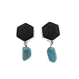 Stephen Dweck Sterling Silver Carved Onyx Turquoise Drop Clip On Earrings