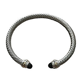 David Yurman 925 Sterling Silver Black Onyx and Gold Cable Classic Bracelet
