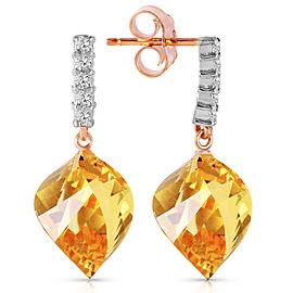 23.65 CTW 14K Solid Rose Gold Diamond Spiral Citrine Earrings