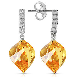 23.65 CTW 14K Solid White Gold Participation Citrine Diamond Earrings