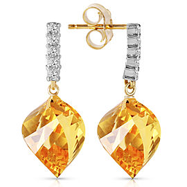 23.65 CTW 14K Solid Gold Strong Character Citrine Earrings