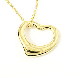 Tiffany & Co. 18K Yellow Gold Open Heart Pendant Necklace CHAT-28