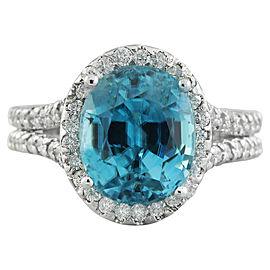 8.70 Carat Zircon 14K White Gold Diamond Ring