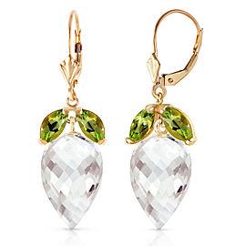 25.5 CTW 14K Solid Gold Earrings Peridot Briolette White Topaz