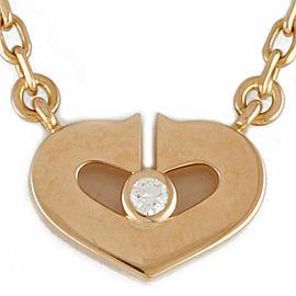 CARTIER 18K Pink Gold Diamond heart certificate Necklace