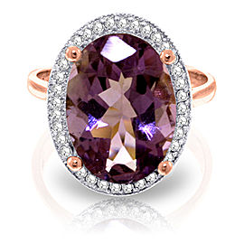 5.28 CTW 14K Solid Rose Gold Loren Amethyst Diamond Ring