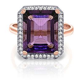 5.8 CTW 14K Solid Rose Gold Isabella Amethyst Diamond Ring
