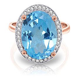 7.58 CTW 14K Solid Rose Gold Loren Blue Topaz Diamond Ring