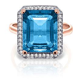 7.8 CTW 14K Solid Rose Gold Isabella Blue Topaz Diamond Ring
