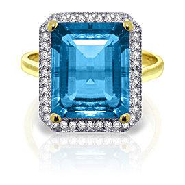 7.8 CTW 14K Solid Gold Topaz Rules Blue Topaz Diamond Ring