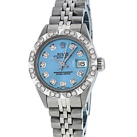 Rolex Datejust Stainless Steel & 18K White Gold Diamond and Sapphire 26mm Womens Watch
