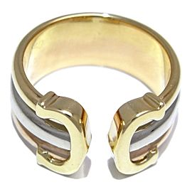 Cartier Double C Ring 18K Yellow White & Rose Gold Size 4